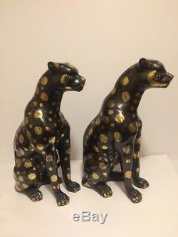 Bronze or Brass CAT Cheetahs Art Deco Wildcat Sculpture Cheetha Statues 16