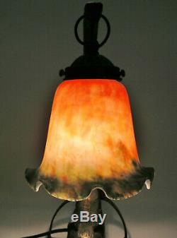 CROUCHING CAT CAST IRON 14 TABLE LAMP with ART GLASS SHADE ART DECO VERY NICE
