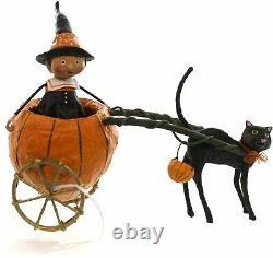 Carriage Ride Witch Pumpkin Black Cat Halloween Figurine Decor Keepsake Gift Fun