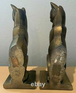 Cat Bookends Metal Art Deco Egyptian Siamese Vtg Bronze Color