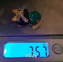 Cat Brooch Ruby, Onyx & Chrysoprase 18k Gold Corletto Pin Art Deco
