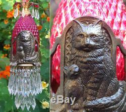 Cat Swag Lamp Chandelier brass tole Ruby glass Beaded crystal Art Deco Era insp