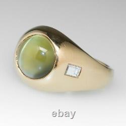 Cats Eye Ring for Men 14k Solid Rose Gold Promise Ring Gift
