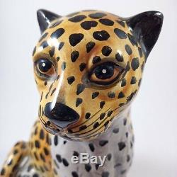 Ceramic Large Figurine Panther Jaguar Handmade Painted Vintage Cat Statue Figure