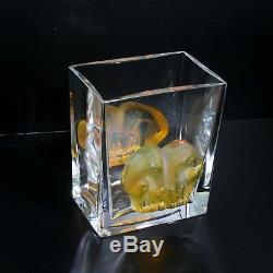 Charming Lalique Crystal Glass Amber Asmara Huddled Big Cats Rectangular Vase