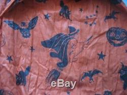Childs 1940s Halloween Dress Witch Bat Cat Owl Costume Orange & Black w photo