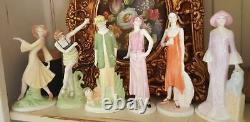 Coalport Doulton Miss 1929 and Cat Roaring Twenties Vogue Art Deco Lady Figurine