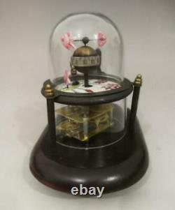 Collectible Decorated Old Handwork Copper Carved Cat Fish Mechanical Table Clock