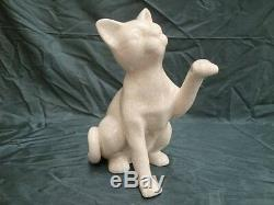 Crackleware Porcelain Art Deco Style Art Nouveau Style Wildlife Cat Figurine Sta