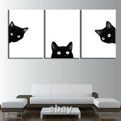 Cute Pet Black Cat Looking 3 Pieces Canvas Wall Art Picture Painting Home Decor