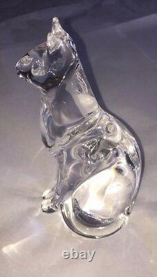 DAUM FRANCE Egyptian Cat Glass Figurine
