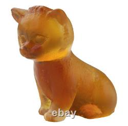 Daum Crystal Cat Mini Seated Kitten Amber #05330/c Brand New In Box Save$$ F/sh