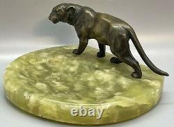 Deco Austria Cold Paint Bronze Statue Lioness Panther Cat Green Onyx Tray Dish