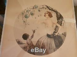 Des Bulles Nude Woman & Black Girl Sign Guy In The Manor Of Louis Icart Litho