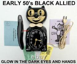 EARLY 1950s-ALLIED-BLACK-KIT CAT KLOCK-KAT CLOCK-ELECTRIC-VINTAGE-ORIGINAL-WORKS