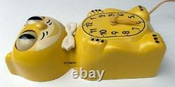 EARLY 50s-ALLIED-YELLOW-KIT CAT KLOCK-KAT CLOCK-ELECTRIC-VINTAGE-ORIGINAL-WORKS