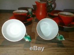 EXTREMELY RARE Vintage Original Tea Set Beyer Bock Art Deco Cat Cups and Saucers