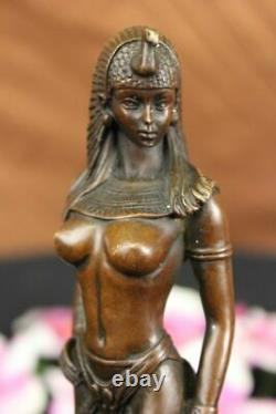 Egypt Nude Queen Cleopatra And Big Cat Bronze Art Deco/Nouveau Sculpture Figure