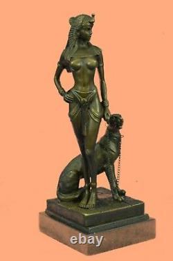Egypt Nude Queen Cleopatra And Big Cat Bronze Art Deco by Lost Wax Method Statue
