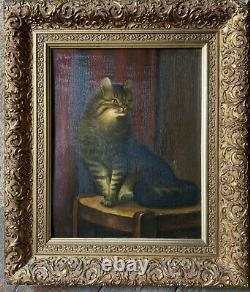 Emmenegger Oil Painting 1932 Magnificent Frame ° Cat on A Chair Antique