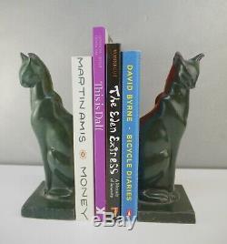 FANTASTIC Pair 20th CENTURY ART DECO Feline CAST Patina Green Tone CAT BOOKENDS