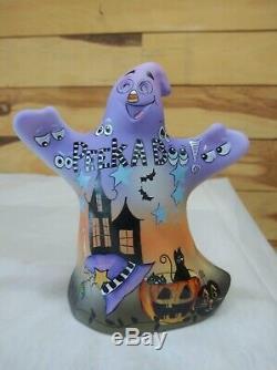 Fenton Glass Peek A Boo Halloween Ghost Figurine Black Cat