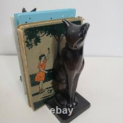 Frankart Art Deco Egyptian Revival Sitting Cat Bookends Metal Black Ebony Set