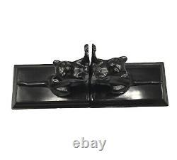 Frankart Sarsaparilla Cats Up + Down Bookends Art Deco moderne black a pair