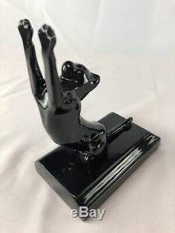 Frankart Sarsaparilla Cats Up + Down Bookends Art Deco moderne black a pair 1985
