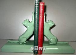 Frankart Sarsaparilla cats up & down bookends art deco moderne greenie pair USA