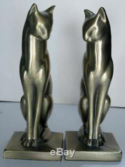 Frankart sitting cat bookends art deco in a moderne brass finish a pair USA made
