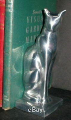 Frankart sitting cat bookends art deco moderne in a polished aluminum a pair USA