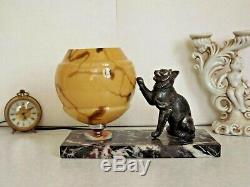 French Art Deco Perrina Cat Lamp On Marble Base Yellow Veined Shade 2127