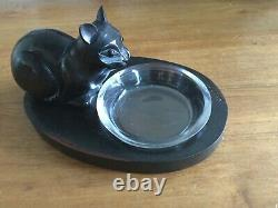 French Ebony Sculpture Of Cat Drinking By Dontkarner Paris