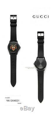 GUCCI YA1264021 Black with Cat Motif Dial Black Rubber Strap 38mm Men's Watch