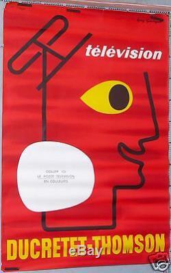 GUY GEORGET FRENCH VINTAGE POSTER TELEVISION DUCRETET THOMSON Circa 1960-65