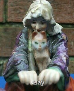 German Volkstedt Porcelain Figurine Beggars with cats 12 cm tall 14 cm wide