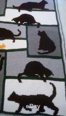 Gold Rush Shadow Cats -Stunning queen size Afghan expertly Hand crafted