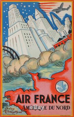 Guy Arnoux Air France Amerique Du Nord Etats Unis Old Poster 1946