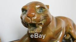 Guy Debe -Bronze / Marble Art Deco creeping panther 1920-1930 period, France