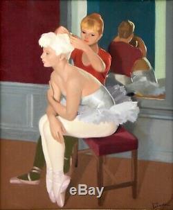 Guy Seradour Art Deco Gouache painting of two young ballerinas 1940