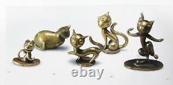 Hagenauer Cat Figurine WHW Austria Modernist Brass Kitty Mid Century Art Deco