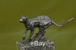 Handmade Jaguar Cat Collector Bronze Marble Bookend Statue Art Deco Art
