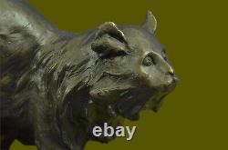 Handmade Vintage Bronze Home Art Deco Cat Statue Plinth Lost wax Method Figure