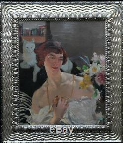 Helen Mackenzie Scottish Art Deco Portrait Woman Cat Oil Painting Art 1888-1966