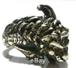 Highly Ornate Art Deco Womens Sterling Silver Lion Feline Cat Ring Size 6.25