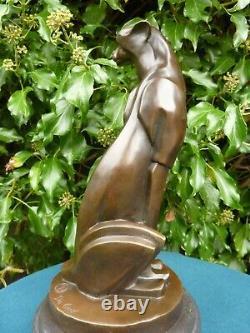 Hot Cast Bronze Cheetah Statue Animal Figure Sculpture Cubist Cat Figurine