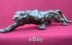 Hot Cast Panther Bronze Statue Animal Figure Sculpture Cougar Big Cat Figurine