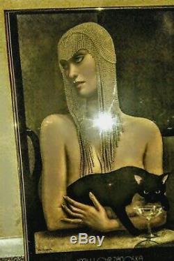 JMW Chrzanoska Lithograph Art Deco Woman with Black Cat Framed