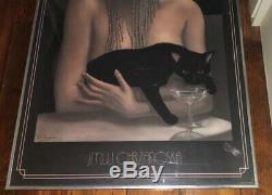 JMW Chrzanoska Solitaire Lithograph Art Deco Woman with Black Cat Framed